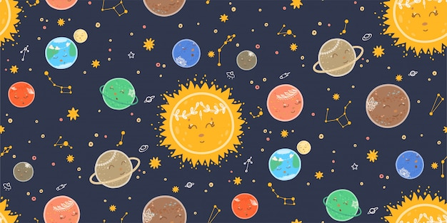 Cute seamless pattern with planets, space, stars, galaxies and constellations