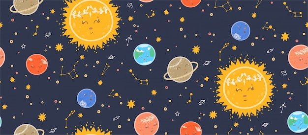 Cute seamless pattern with planets