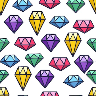 Cute seamless pattern with precious stones of various shapes and colors on dark background