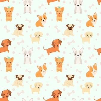 Симпатичные бесшовные модели с щенками. детская иллюстрация животных в мультяшном стиле.