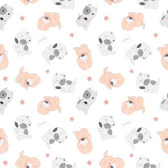 Cute seamless pattern with puppy dog
