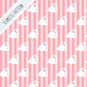 ウサギとストライプのかわいいシームレスパターン