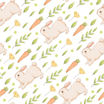 A cute seamless pattern with rabbits, carrots and flowers. easter spring pattern with buns. imitation of handmade watercolors. cartoon flat . isolated on a white background.