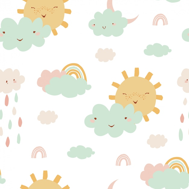 Cute seamless pattern with rainbow, clouds, sun, rain for kids