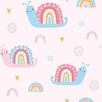 虹のカタツムリとかわいいシームレスパターン
