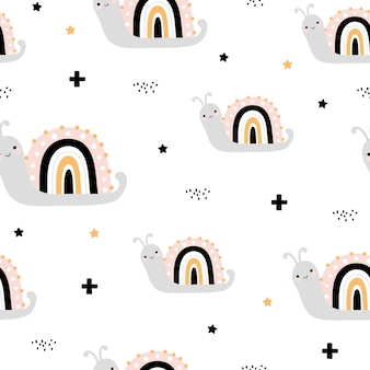 Cute seamless pattern with rainbow snails