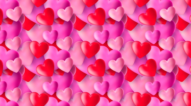 Cute seamless pattern with realistic 3d hearts