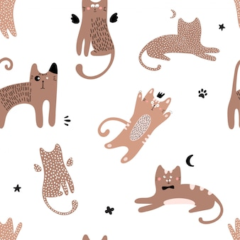 Cute seamless pattern with red cats.