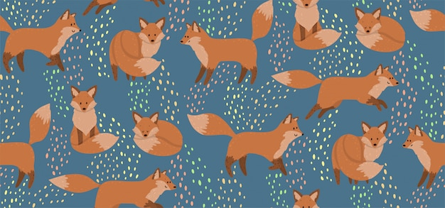 Cute seamless pattern with red foxes. wild nature background for kids print.