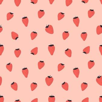 赤いイチゴとかわいいのシームレスパターン