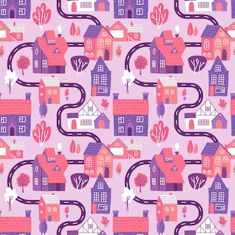 Cute seamless pattern with road, houses and trees