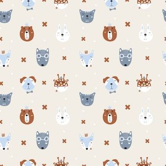 Cute seamless pattern with scandinavian animals. fox, hare, wolf, bear, lion, giraffe, dog, cat.