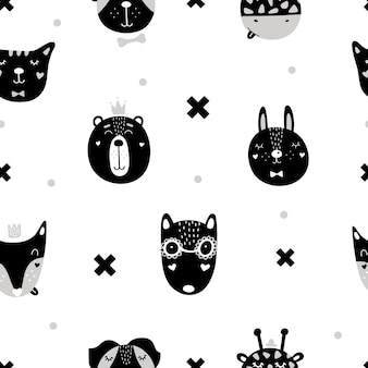 Cute seamless pattern with scandinavian animals