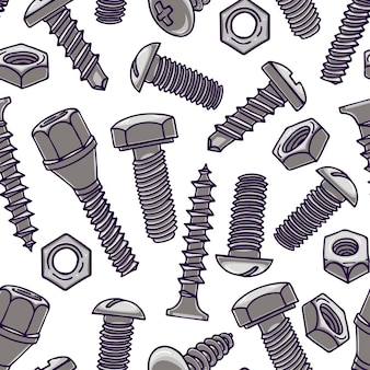Cute seamless pattern with screws and nuts. hand-drawn illustration