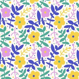 シンプルな花、葉、ドットのキュートなシームレスパターン。明るい手描きのベクトル図です。