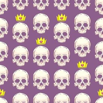 頭蓋骨と王冠のかわいいシームレスパターン。手描きイラスト