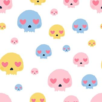 白地にピンク、黄色、青の頭蓋骨とかわいいシームレスパターン。ファブリック、テキスタイル、包装紙、壁紙デザインのフラットスタイルの愛の頭蓋骨の背景。ベクトルイラスト