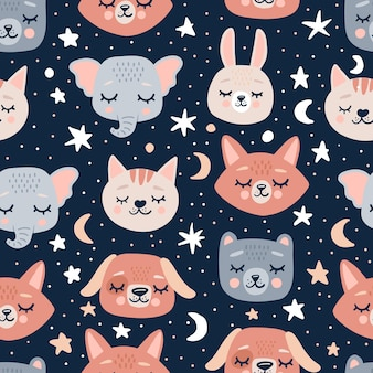 Cute seamless pattern with sleeping animals heads and flowers.