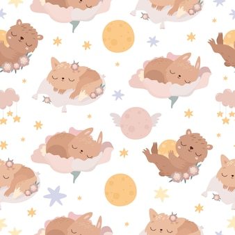 Cute seamless pattern with sleeping animals