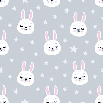 Cute seamless pattern with sleeping bunny heads. hand drawn background with animal for children, fabric, stationery, clothes and pajamas in the scandinavian style.
