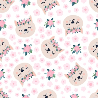 Cute seamless pattern with sleeping cats heads and flowers.