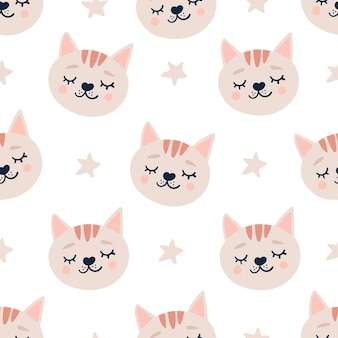 Cute seamless pattern with sleeping cats heads and stars.