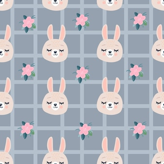 Cute seamless pattern with sleeping rabbits heads and flowers.