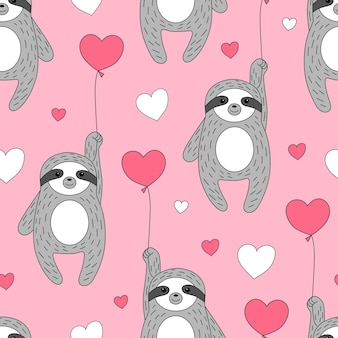 Cute seamless pattern with sloths on balloons