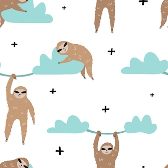 Cute seamless pattern with sloths on the clouds.