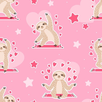 Cute seamless pattern with sloths