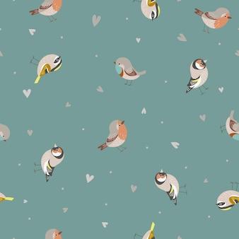 작은 새와 귀여운 원활한 패턴