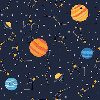 Cute seamless pattern with smiling planets in open space with stars and constellations