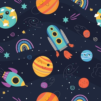 Cute seamless pattern with space concept  spaceship planets and rainbow