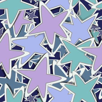 Cute seamless pattern with sticker stars