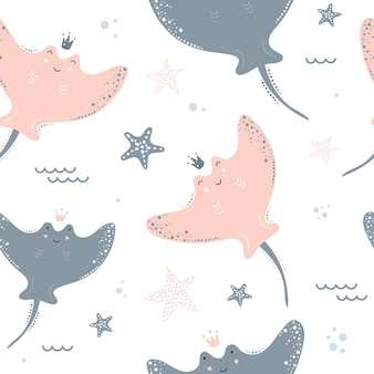 Cute seamless pattern with stingrays.