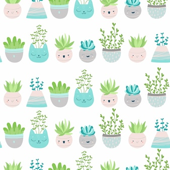 Cute seamless pattern with succulents and cactus in colorful pots. scandinavian illustration in pastel colors for wallpaper, fabrics, textiles, wrapping paper, scrapbooking, etc
