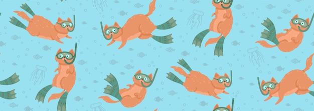 Симпатичные бесшовные модели с плавающими кошками в окружении рыб и медуз Premium векторы