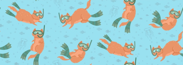 Cute seamless pattern with swimming cats surrounded by fishes and jellyfishes