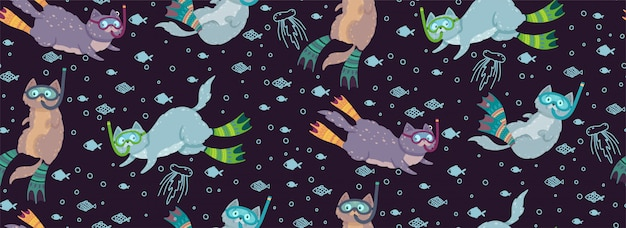 Cute seamless pattern with swimming cats surrounded by fishes and jellyfishes.