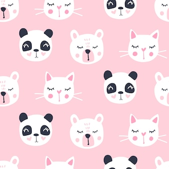 Cute seamless pattern with teddy bear, panda, cat.