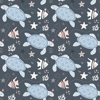 Cute seamless pattern with turtles and fish