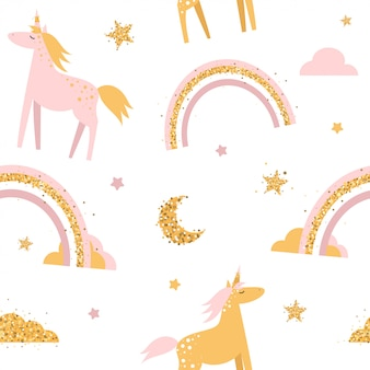 Cute seamless pattern with unicorns and rainbows.