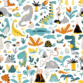 Cute seamless pattern with a variety of dinosaurs