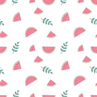 파스텔 색상의 수박과 잔가지가 있는 귀여운 매끄러운 패턴입니다. 섬유, 포장지 및 기타 디자인을 위한 여름 인쇄. 벡터 평면 그림