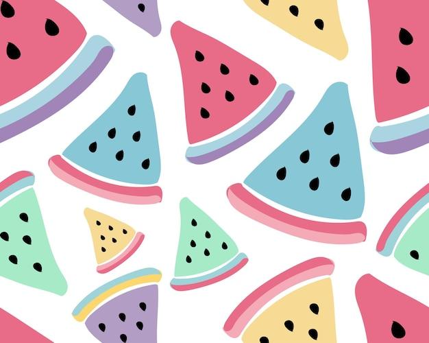 수박 최소한의 디자인 화려한 여름 과일과 함께 귀여운 원활한 패턴