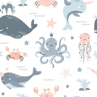 Cute seamless pattern with whale, narwhal, octopus, jellyfish, starfish, crab