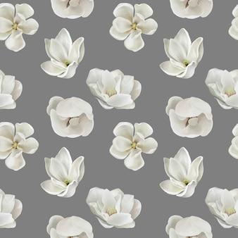 白の現実的なモクレンの花とかわいいのシームレスパターン