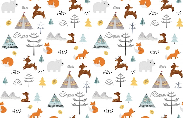 Cute seamless pattern with wild animals.