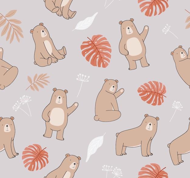 冬のクマとかわいいシームレスパターン。