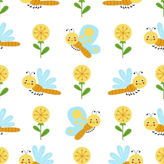 Cute seamless pattern with yellow flowers and cartoon dragonfly and butterfly